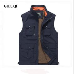 bcd674006c4 Navy Blue Casual Men Vest Outwear Solid Color Stand Collar Man Sleeveless  Jackets High Quality Brand Colete Masculino S-XXXXL