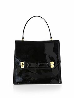 Gorgeous tote in patent black and the perfect light PINK option:).                    Miu+Miu Bow+Patent+Leather+Satchel