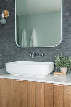 Custom Vanity and Silestone 'Blanco Orion' Benchtop. Upstairs Bathrooms, Downstairs Bathroom, Master Bathroom, Boho Bathroom, Modern Bathroom, Bathroom Ideas, Bathroom Vanities, Neutral Bathroom, Beautiful Bathrooms