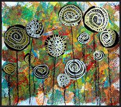 Lollybomen, in de stijl van Hundertwasser Doel: Het begrip spiraalvormig toepassen.