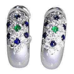 Cartier Emerald Sapphire Diamond Gold Hoop Earclips