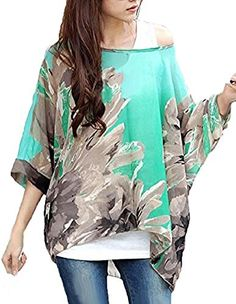 Feelme Ladies Batwing Dolman Chiffon Flowers Blouse Oversized Tops Boho Shirts * Want to know more, click on the image.