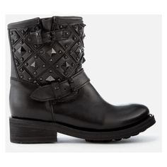 Ash Women's Trone Leather Studded Biker Boots ($395) ❤ liked on Polyvore featuring shoes, boots, black, black biker boots, black motorcycle boots, flat leather boots, biker boots and black moto boots