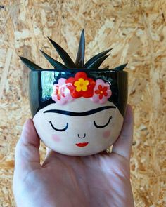 This little beauty of a plant pot it is back in stock. The Frida Kahlo plant . Painted Plant Pots, Painted Flower Pots, Ceramic Plant Pots, Mini Plants, Potted Plants, Unique Gifts For Girls, Cardboard Gift Boxes, Plastic Bottle Crafts, Pottery Painting