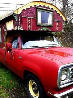 50 square foot, Romany inspired housetruck.  Built on the back of a 1975 vintage Dodge truck, it's been carefully and lovingly crafted with much attention to detail and advice from a UK based Romany restoration artist, this tiny house on wheels will be someone's next big adventure...