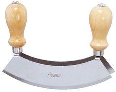 zweischneidig, aus Klingenstahl, seidenmatt poliert, mit lackierten Holzgriffen Länge: 20 cm, Klingenbreite: 4,5 cm, Gesamthöhe: 15,5 cm
