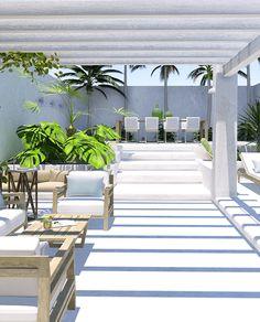 Un patio contemporáneo de aire tropical
