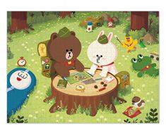 LINE FRIENDS Jigsaw Puzzle 800 Pieces - BROWN & CONY's Camping #LINEFRIENDS #Jigsaw #Puzzle #800 #Camping