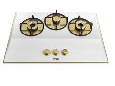 Pramar Stone Thassos Marble 3 Gold burners Hob.