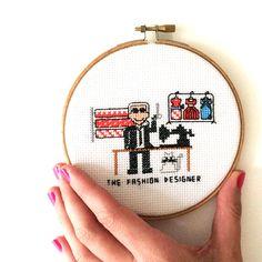 Fashion Designer cross stitch design. Easy Modern Karl Lagerfeld gift for fashionista. Available as Cross stitch kit, Cross stitch pattern and Completed work. Find it at www.studio-koekoek.com