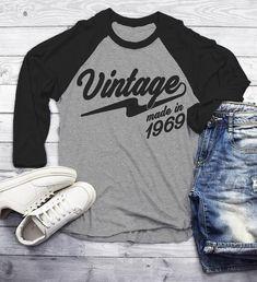 Men's Vintage T Shirt 1969 Birthday Shirt Olds Cool Birthday Tee Sleeve Raglan Retro Gift Idea Vintage Tee Oldscool Shirts Senior Class Shirts, Graduation Shirts, Birthday Shirts, Yearbook Shirts, School Shirts, Retro Birthday, 40th Birthday, Vinyl Shirts, Raglan Shirts