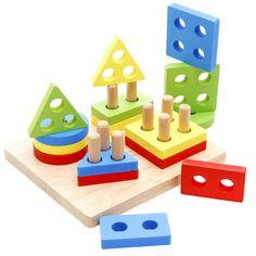 유아 어린이 교육 장난감 나무 극 기하학 모양 intellige 학습 도구 완구 & 게임