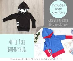 Apple Tree Bunnyhug Grow With Me Hoodie *PDF Pattern* Pullover Hooded Sweatshirt Grow with me Pattern Baby Kids Clothing Sewing Bunny Hug