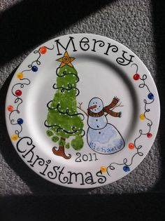 Kids' footprint Christmas plate