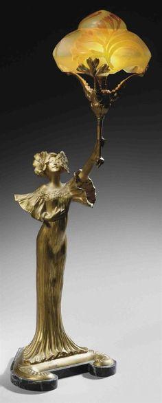 Louis Chalon, figural lamp, circa 1900