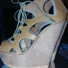 Tan wedge heels 6in tan wedge heels. Worn once for about an hour. Size 8 Shoes Heels