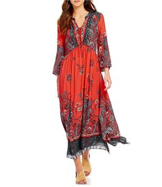 Red:Free People If You Only Knew V-Neck Long Sleeve Printed Maxi Dress