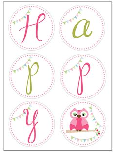 owl birthday banner prints
