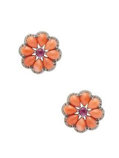 Diamond, Ruby, Coral & Silver Earrings by Arthur Marder Fine Jewelry | coral | Gilt