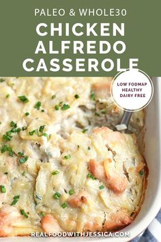 This Paleo Chicken Alfredo Casserole is easy to make and pure comfort fo. - This Paleo Chicken Alfredo Casserole is easy to make and pure comfort food. Dairy Free Recipes, Paleo Recipes, Whole Food Recipes, Gluten Free, Soup Recipes, Easy Recipes, Fodmap Recipes, Whole 30 Chicken Recipes, Easy Paleo Dinner Recipes