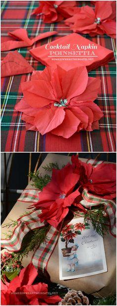 Grow a poinsettia from a cocktail napkin as a fun gift wrap embellishment! #Christmas #wrap