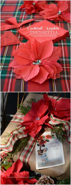 A poinsettia blooming from a cocktail napkin as a fun gift wrap embellishment! #Christmas #wrap