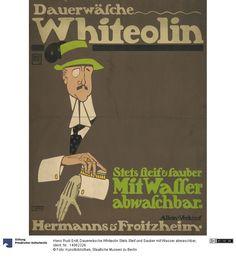 Dauerwäsche Whiteolin Stets Steif und Sauber mit Wasser abwaschbar     Plakat      Hans Rudi Erdt (1883.03.31 - 1925.05.24, ), Herstellung, Entwerfer     Hollerbaum und Schmidt, Herstellung, Drucker     1909