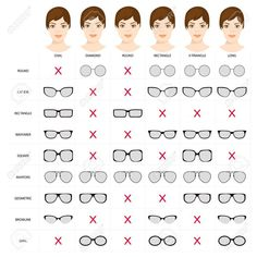 Stock Vector Right glasses for women s face shape. Stock vector illustration of glasses shapes for different female face types. glasses for woman. Female glasses different types. Glasses For Oval Faces, Glasses For Face Shape, Glasses Heart Shaped Face, Eyeglasses For Women Round Face, Diamond Face Shape Glasses, Hair For Face Shape, Makeup For Oval Face Shape, Frames For Round Faces, Square Face Makeup