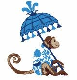monkey with parasol blue