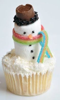 Mr. Marshmallow Snow Man. great step by step instructions, christmas winter cupcakes dessert