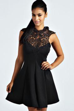 Leanne Crochet Top Skater Dress at boohoo.com