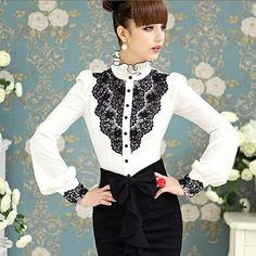 New Elegant Lace Patchwork Women Blouses Desigual Vintage Ruffled Autumn Shirt Women Clothing Blusas Fenominas CT107