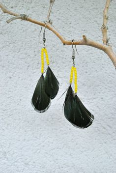 Green Pheasant Earrings with Yellow Beads  Style 028 by jessamurph, $20.00