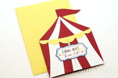 Signature Sunshine Circus Tent Birthday Invitations for Boys Circus or Carnival Party-circus tent carnival
