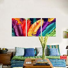 BPAGO 3 Panels Colorful Feather Modern Giclee Print Paint... http://a.co/fAPSIXv #feather #colorful #homedecor #canvasprints