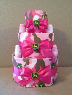 John deere diaper cake for girl