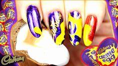 EASTER NAIL ART | CADBURYS CREME EGG NAILS | CANDY WRAPPER CHOCOLATE FOI... Nail Polish Art, Nail Polish Designs, Nail Art Designs, Diy Easter Nails, Hard Nails, Easter Nail Designs, Creme Egg, Nail Candy, Candy Wrappers