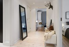 Love this hallway...except for the deer head....