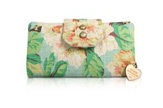 Indeeyo, Yellow Wallpaper Handmade - Mint Floral Wallet