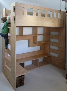 Custom made Loft bed. Steve to make from ply, routed edges. Also lower bunk, separate with a trundle drawer that the kids can stow their lego in. The drawer to have a floating drawer in it so it can have two tiers/levels in the one drawer!