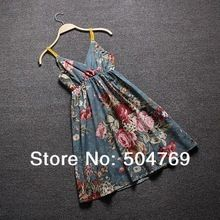Hot-selling V-neck high waist floral print spaghetti strap beach cotton silk one-piece dress summer basic suspender skirt
