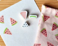 Watermelon hand carved rubber stamps set - MemiTheRainbow