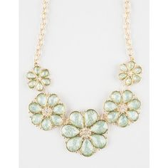 Full Tilt 5 Flower Statement Necklace ($8.99) ❤ liked on Polyvore featuring jewelry, necklaces, mint, rhinestone flower necklace, flower necklace, full tilt jewelry, blossom jewelry and mint green necklace