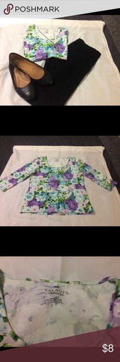 Talbots 3/4 sleeve floral blouse Soft material with a fun floral pattern. Size small. Talbots Tops Blouses