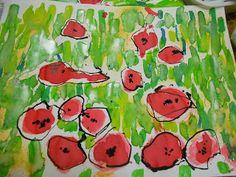 Les travaux de maternelle et autres niveaux...: Très librement inspiré des coquelicots de Claude Monet...fin d'année petite section Ecole Art, Art Plastique, Art For Kids, Animation, Montessori, Spring, Laurence, Artwork, Painting