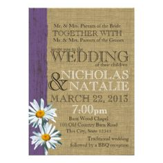 Rustic Daisy Wedding Cards, Photo Card Templates, Invitations & More