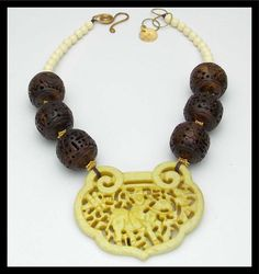 ASIA - Handcarved Jade Pendant - Handcarved Bone & Restructured Amber 1 of a Kind Necklace by sandrawebsterjewelry on Etsy