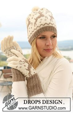 "Ravelry: 122-14 Knitted gloves with reindeer in ""Fabel"" and ""Alpaca"" pattern by DROPS design-free pattern"