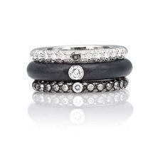 Adolfo Courrier I-POP 18K White Gold Gray & White Diamond Acciaio Ring Stack