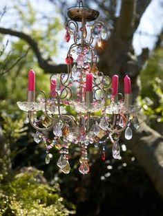 garden chandelier with pink candles